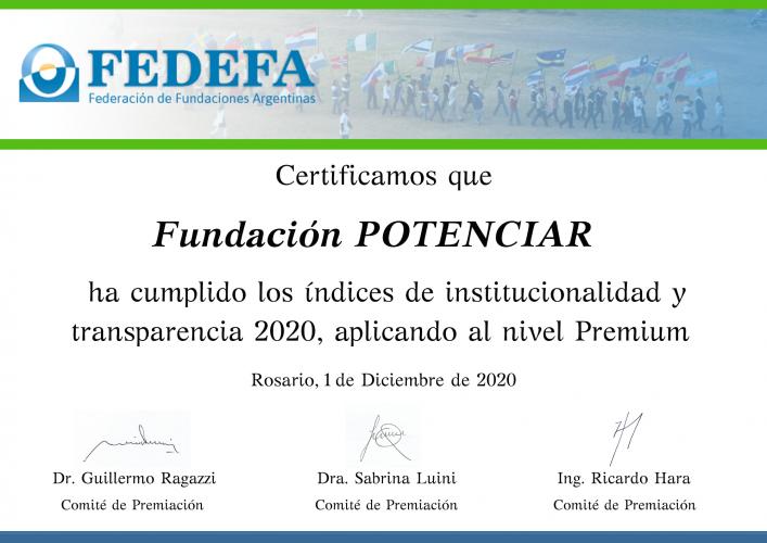 Certificado Premio FEDEFA a la Solidaridad 2020